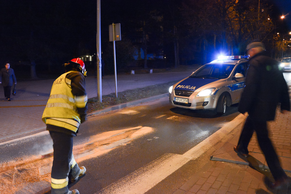 Plama oleju na rondzie im. Jana Pawła II - 26.12.15 r.