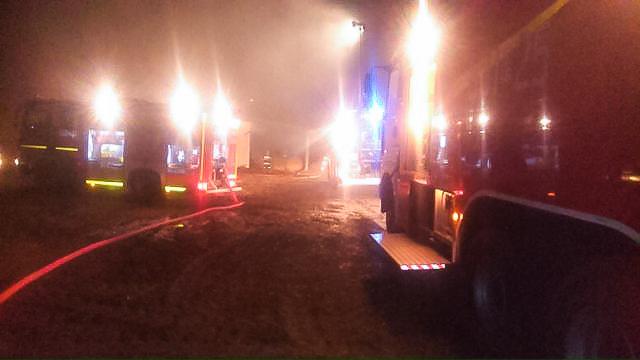 Pożar budynku gospodarczego w Mchach - 17.12.14r.